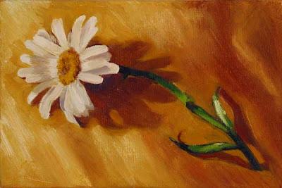 daisy yellow silk oil on canvas painting