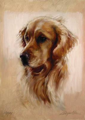 dog portrait retriever oil on canvas painting