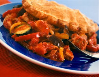 Pie with Mediterranean vegetables and Quorn, a meat substitute