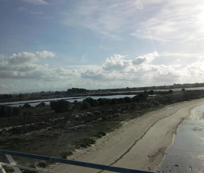 salinas do samouco, alcochete, beira rio(braço de mar, rio tejo, com o atlantico)