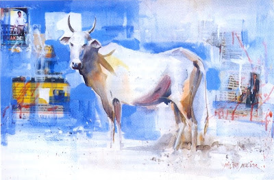 Chak de cow painting watercolor by Milind Mulick