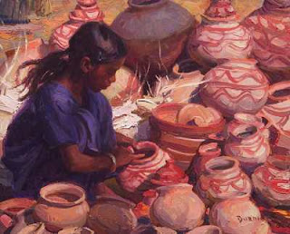 Selling Pottery -a work by Scott Burdick