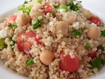 ... Grain Couscous Salad with Garbanzo Beans, Feta and Cherry Tomatoes