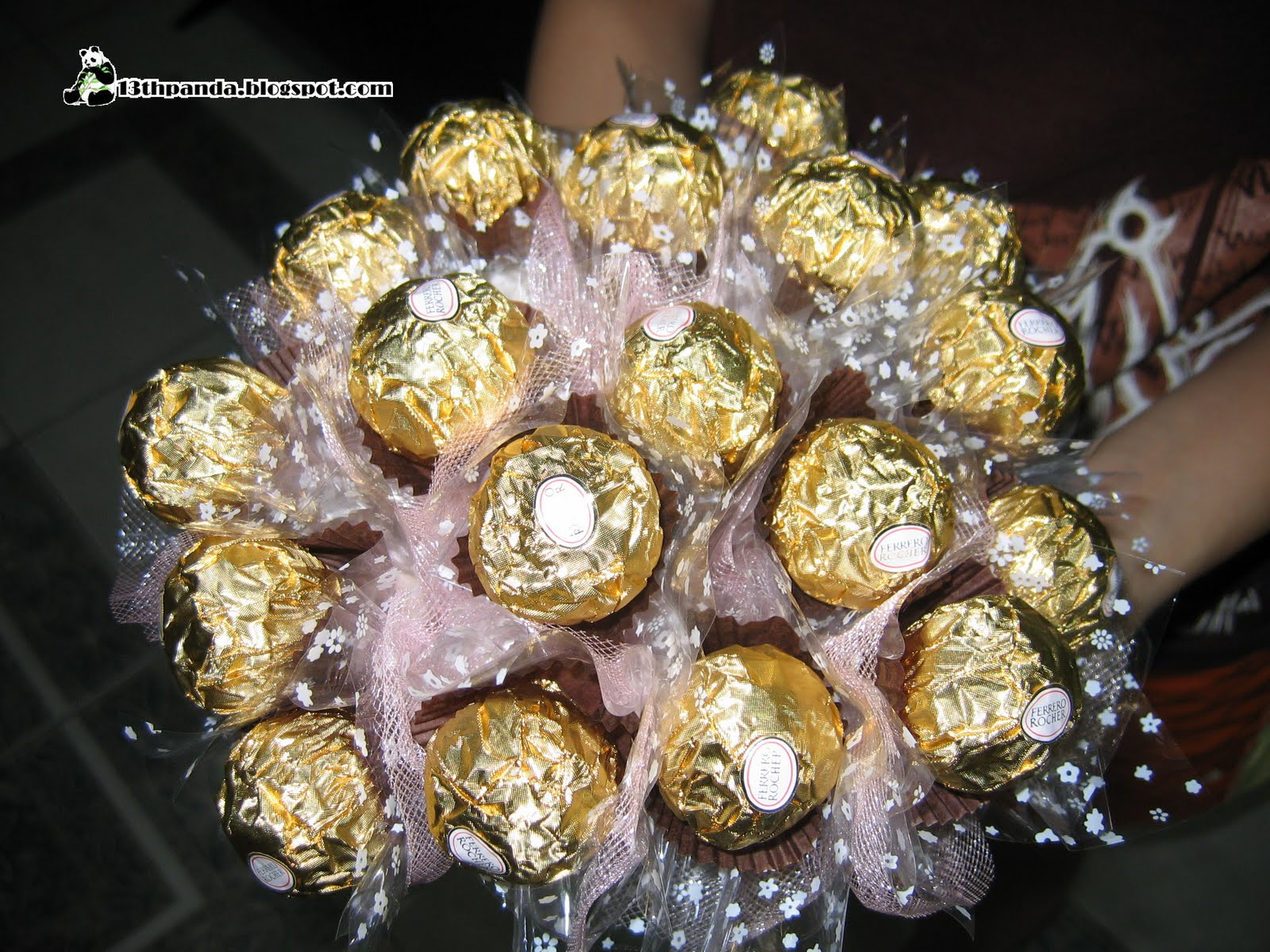 13thpanda first ever handmade ferrero rocher bouquet this is how 18 stalks looked like before i wrap it it may look simple but its not as easy as you think all the sewing and cutting and cello taping izmirmasajfo