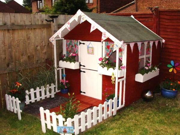 Wendy house on pinterest for Wooden wendy house ideas