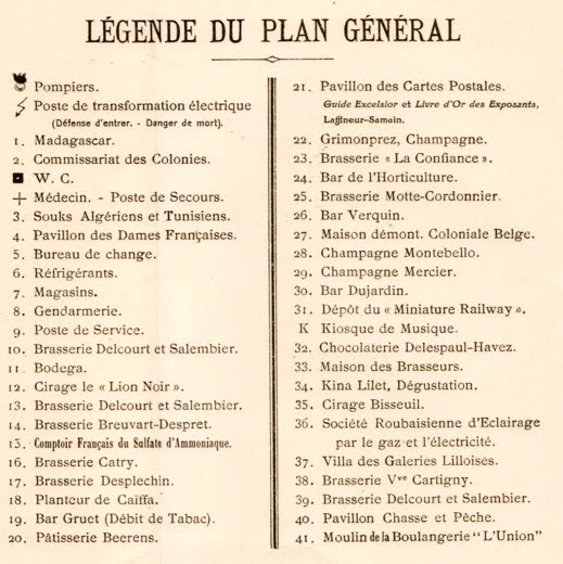 Légende du plan général