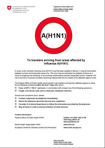 Informations en anglais du service de santé suisse