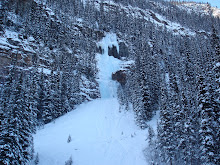 A frozen waterfall at Lake Louise
