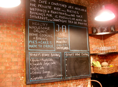 J and A cafe Clerkenwell daily specials board