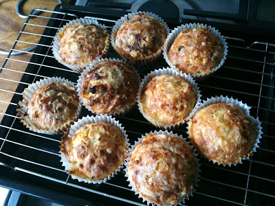 Cheese and onion muffins cooling