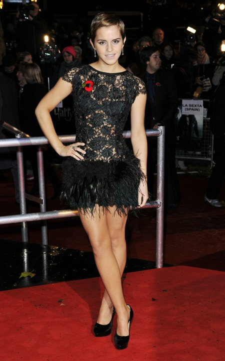 emma watson short hair black dress. Emma Watson stole the show at