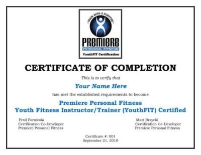 Premiere Personal Fitness YouthFIT Certification