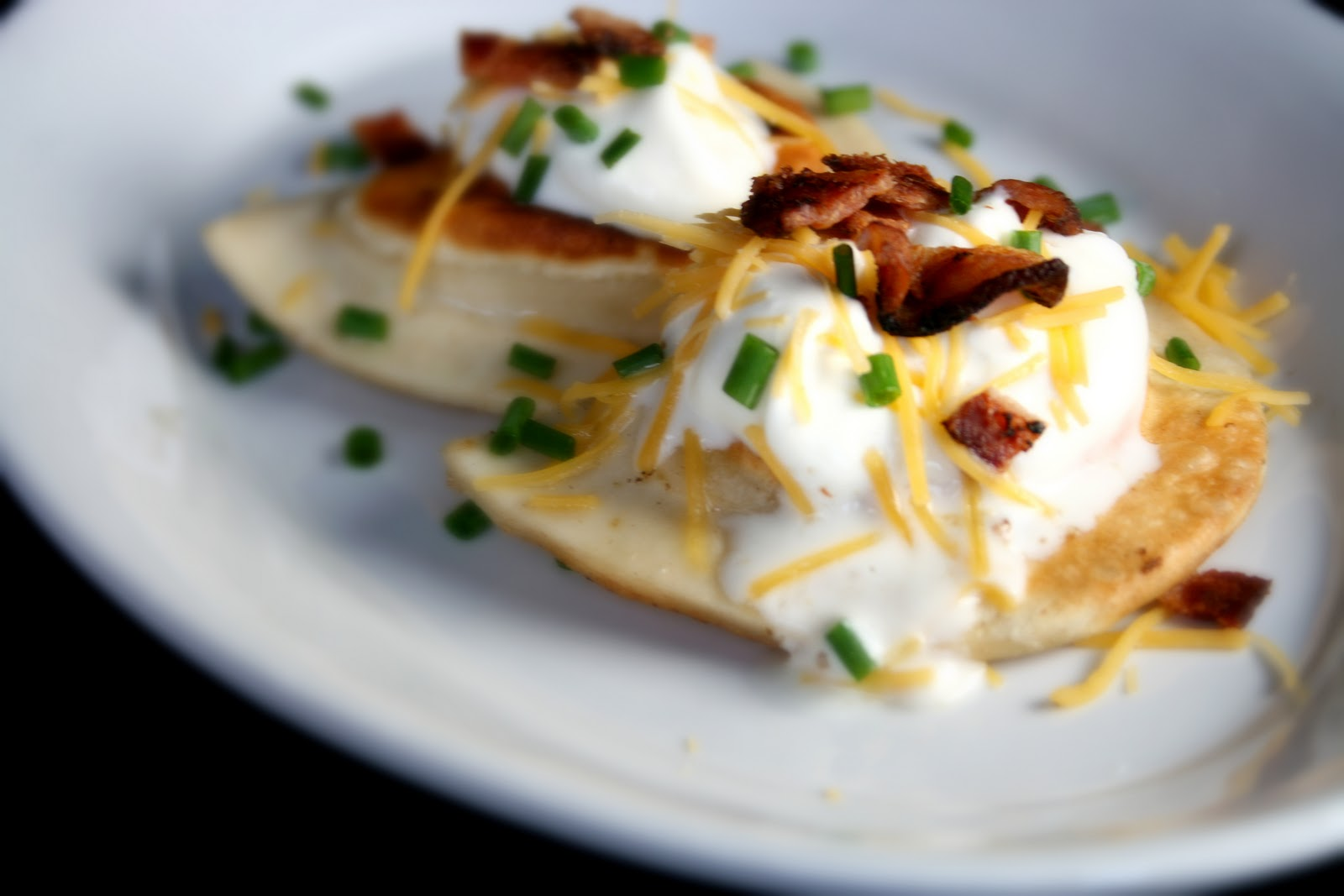 That's right. Loaded Pierogies, My take on loaded potato skins.