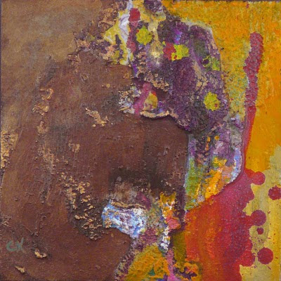 Connie Kleinjans fine art, No Sir, 8x8, mixed media on board