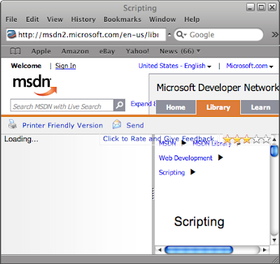 Safari rendering the MSDN Scripting page