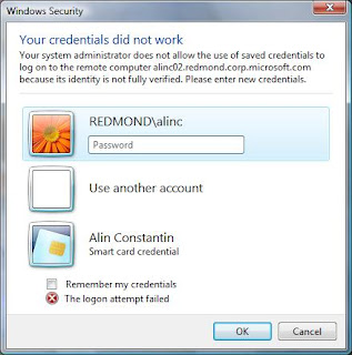 'Your credentials did not work. Your system administrator does not allow the use of saved credentials to log on to the remote computer' error message