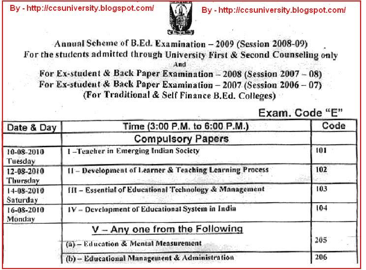 ccs university bed date sheet