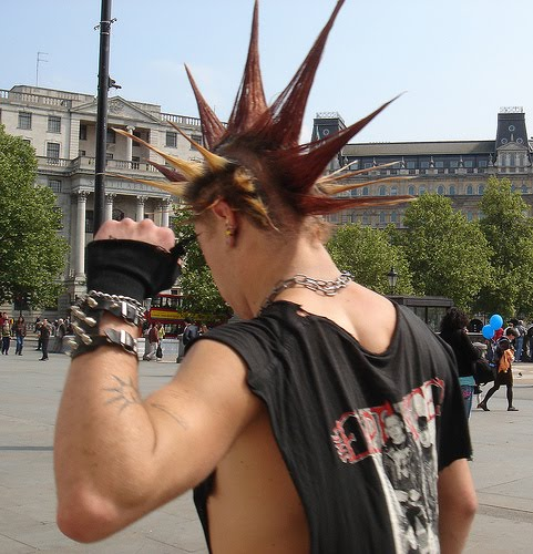 "The essence of punk is to be different and to not conform. Thus there wouldn't be true ""punk hairstyles"", because after a while it becomes widely adopted"