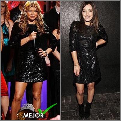 Vestido negro con brillo, repiten en diferentes sitios, Fergie y