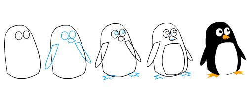 How to draw a cartoon penguin - photo#5