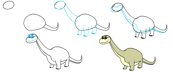 How to draw a cartoon dinosaur brontosaurus