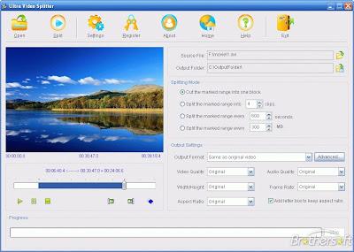 ������ ������ ������� ��� ����� ���� �� ������� Ultra Video Splitter 5.01