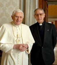 The black pope (Jesuit General and head Mason of the world, son of satan) with his puppet Ratzinger