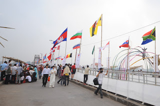 More than 60 flags of nations flew on Long Bien bridge