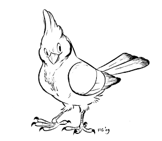 Cartoon drawing red-capped cardinal bird