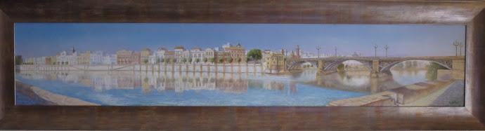 SEVILLA. Oleo panorámico de la calle Betis, Sevilla. Realizado en Mayo de 2.010