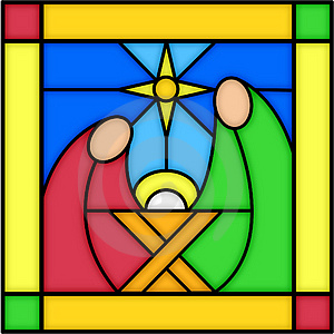 Stained glass windows in churches nativity scenes