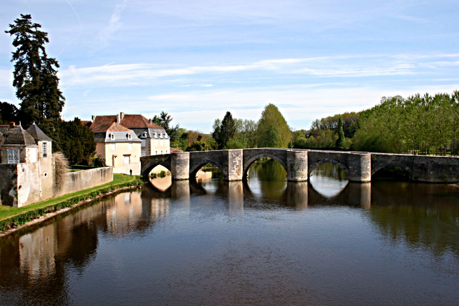 Old Roman bridge over the River Gartempe