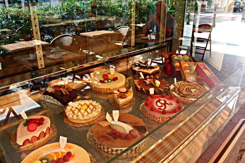 patisserie window with cakes