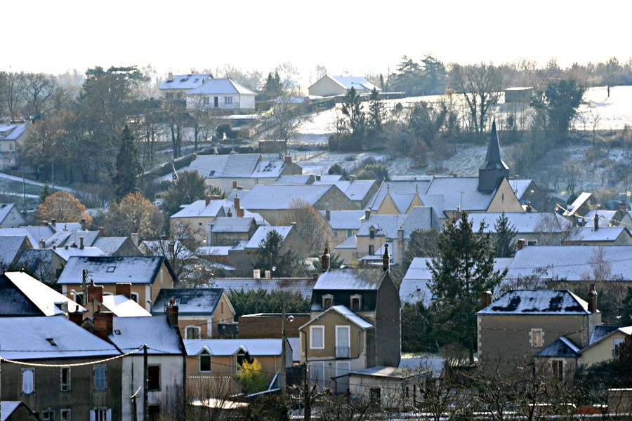 village rooftops in the snow