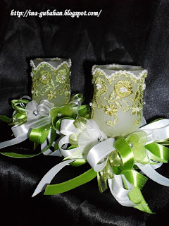Bekas potpori - potrait (bunga stokin - dibuat sendiri)