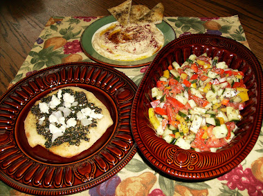 Israeli salad, Za`Atar Pizza and Hummus,  Yummy!