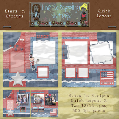 http://scrappingsisters.blogspot.com/2009/07/stars-n-stripes-quick-layouts.html