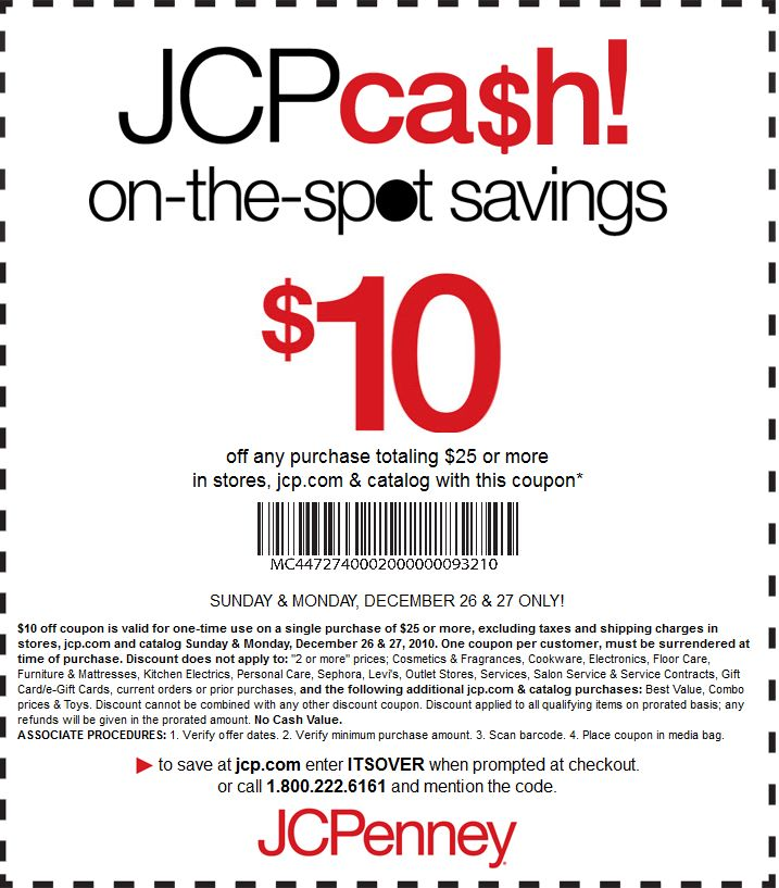 Save 10 On A 25 Purchase Macys Jcpenney Printable Coupon