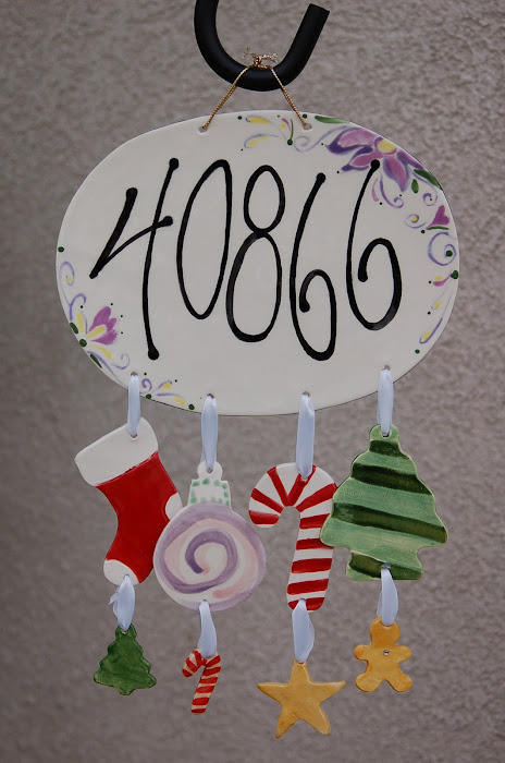 Address, Welcome, Family name Plaques w/ seasonal wind chimes