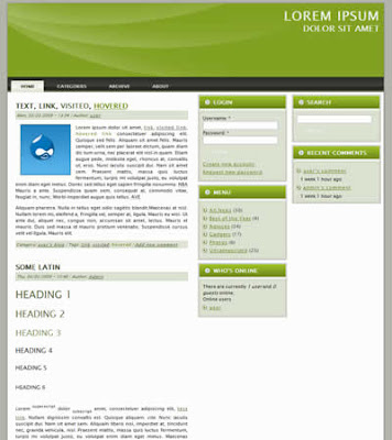 three column drupal theme with green header