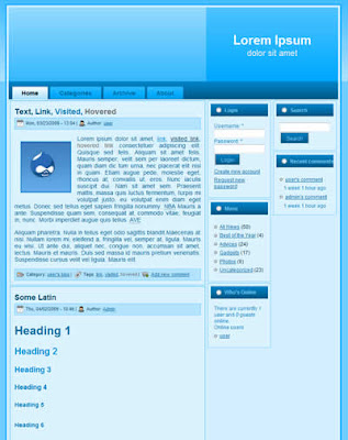 3 column drupal theme blue