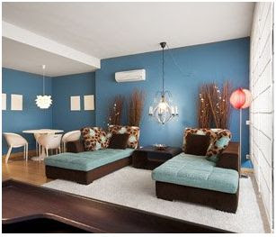 decorar con azul y marron