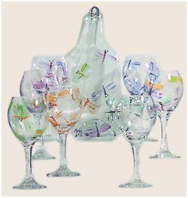 libelulas pintadas en copas de cristal