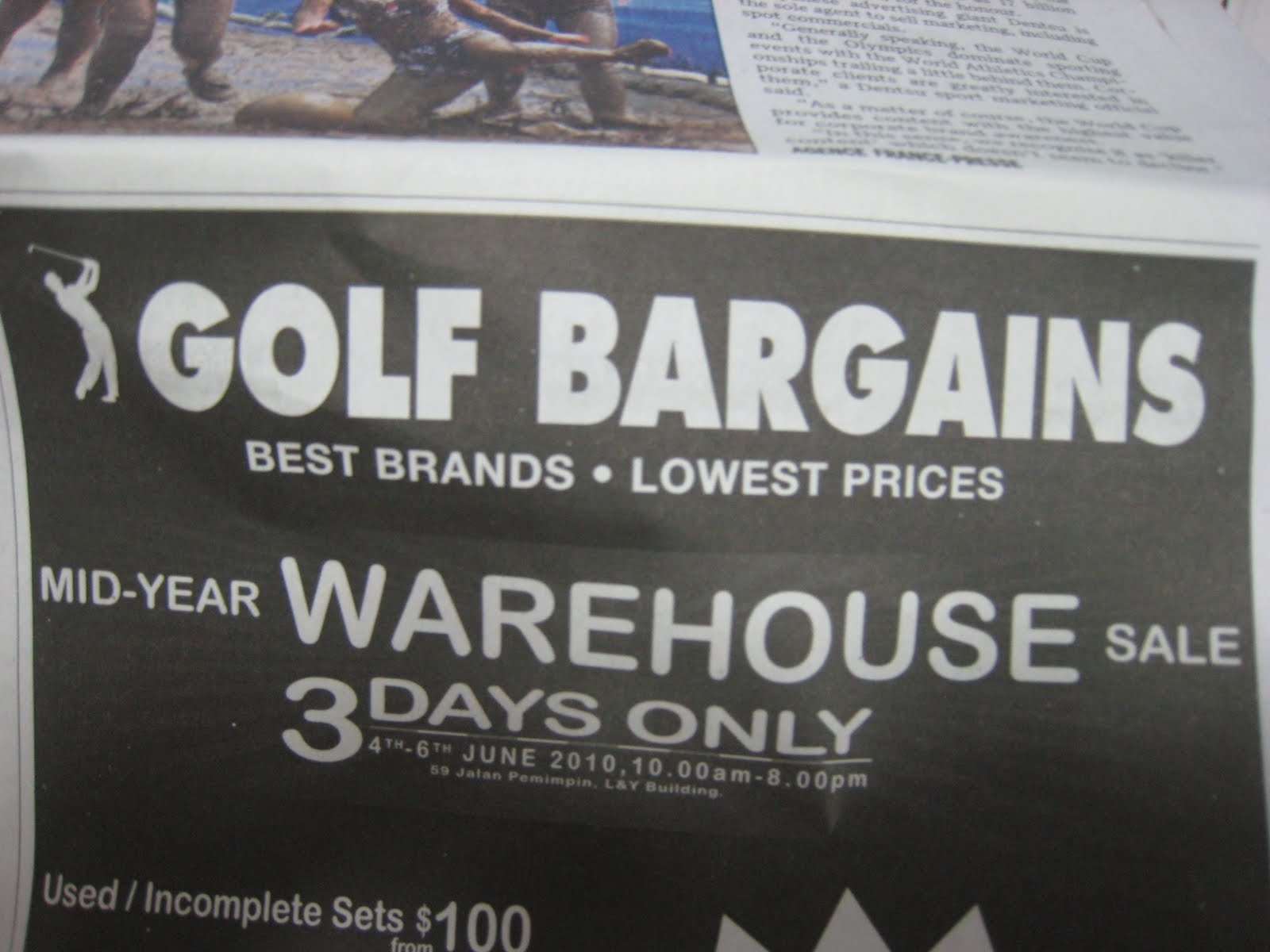 Tua Lobang - Singapore: GOLF BARGAINS - Warehouse Sale@ Jalan ...