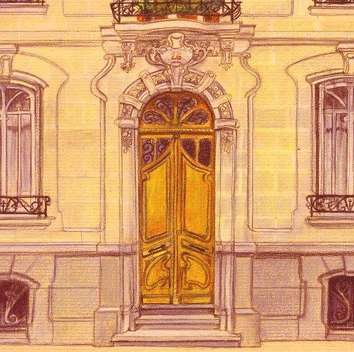 pastel (détails porte d'entrée hôtel particulier à Nantes)