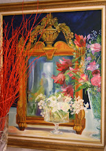 "Tulipes ""perroquet"", et miroir ancien"