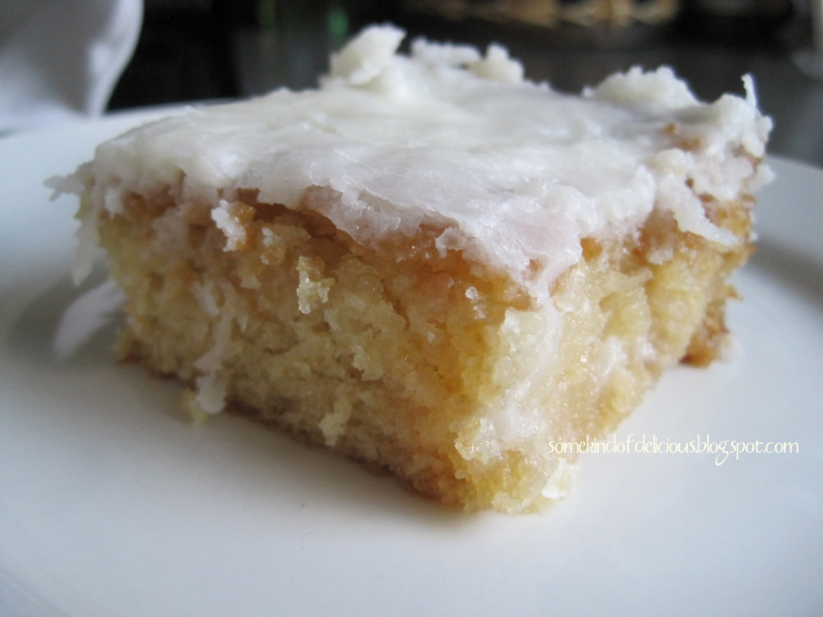 Some Kind Of Delicious White Texas Sheet Cake With Coconut Frosting