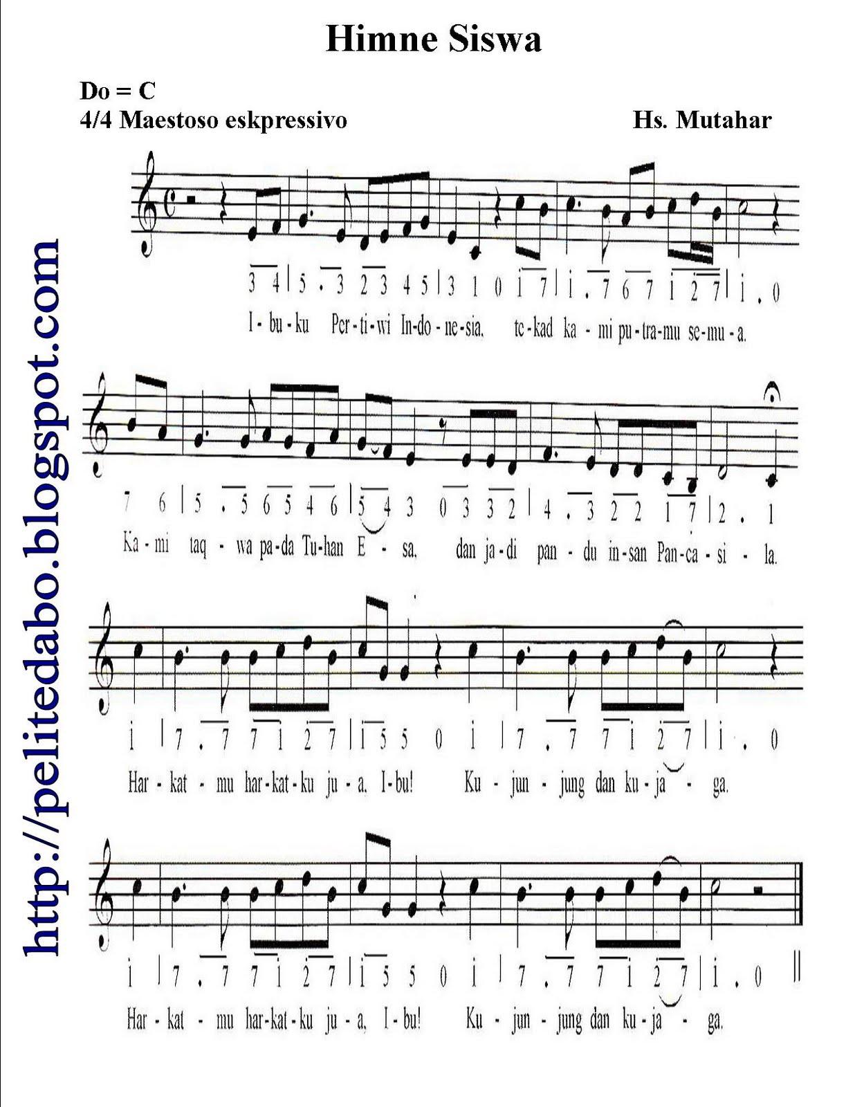 Partitur Lagu Himne Siswa