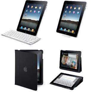 iPad with accessory dock, keyboard, and stand