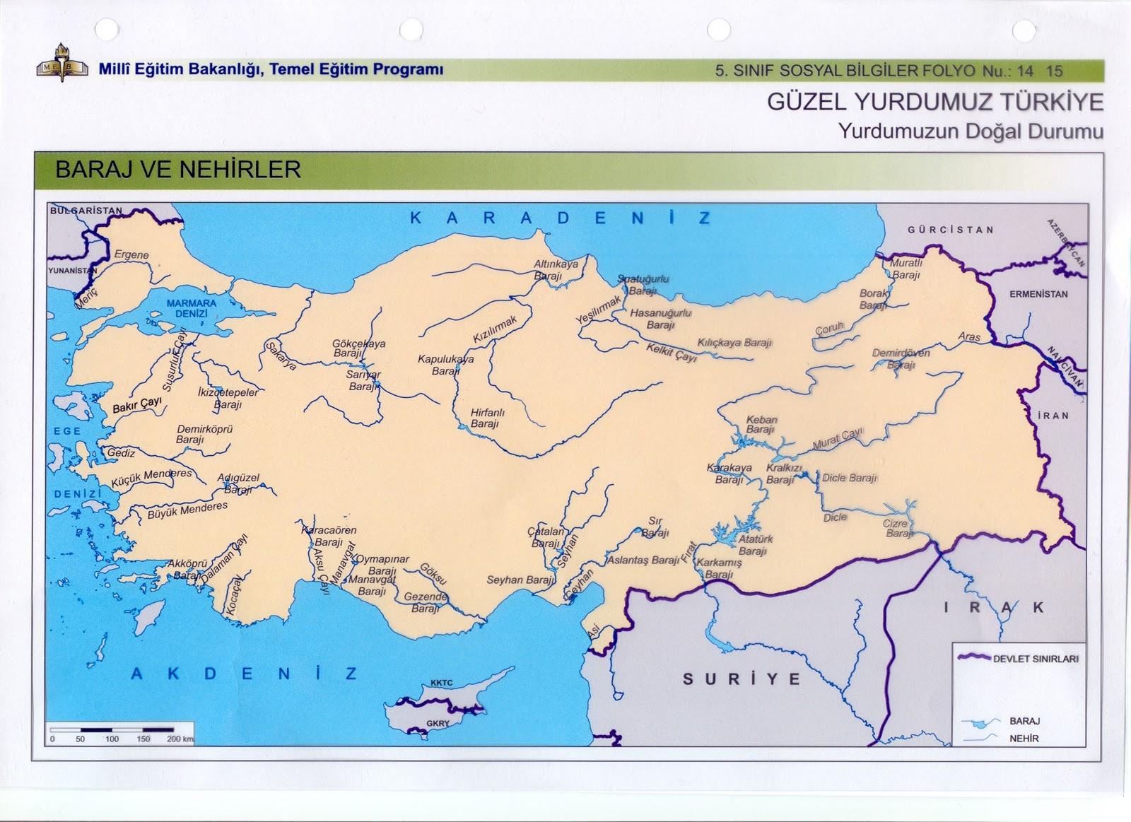 Türkiyenin baraj ve nehirleri akarsuları haritası